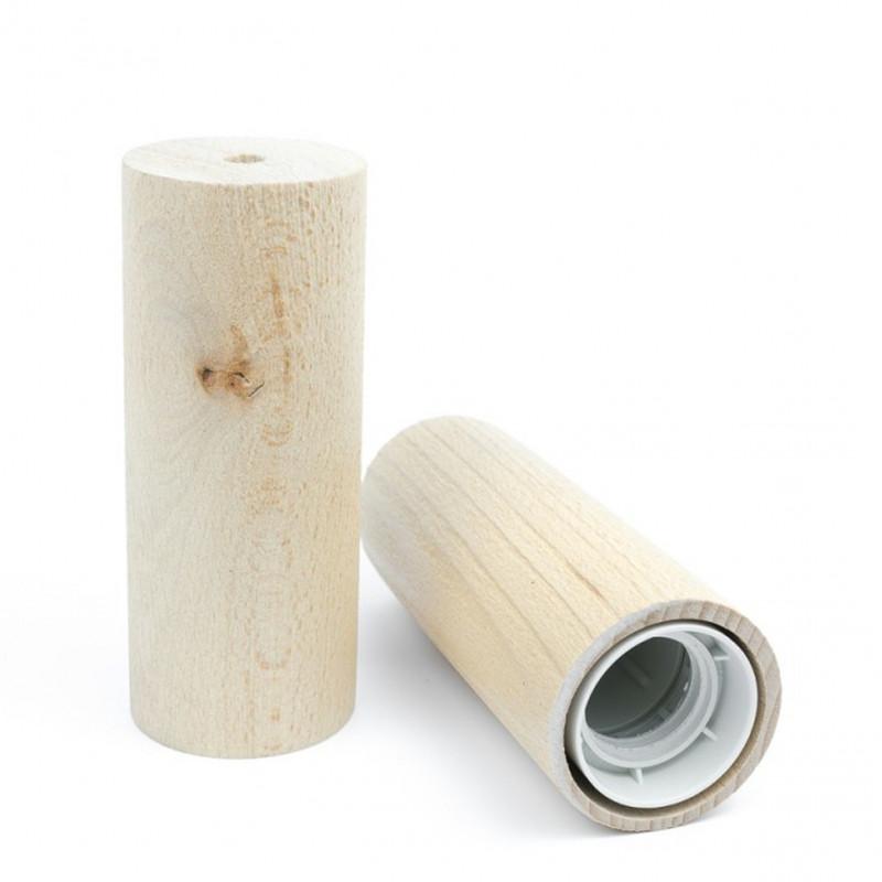 Sandblasted wooden lamp holder type B E27