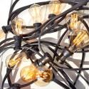 Girlanda żarówkowa ogrodowa 30m 60 oprawek czarna