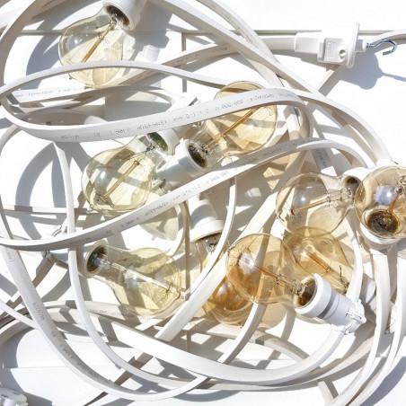 Festoon lighting chain 10m 20 bulb holders white