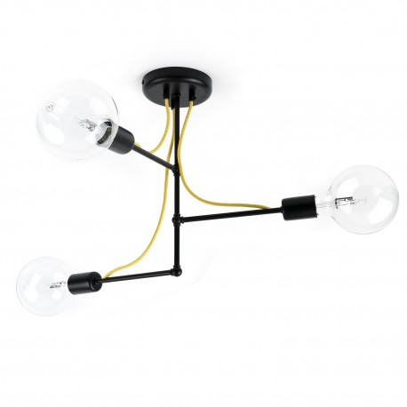 Czarna lampa sufitowa Loft Tubo 2 lampa z metalowych rurek