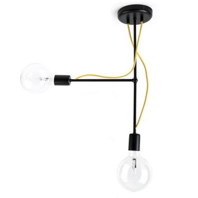 Czarna lampa sufitowa Loft Tubo 5 lampa z metalowych rurek KOLOROWE KABLE