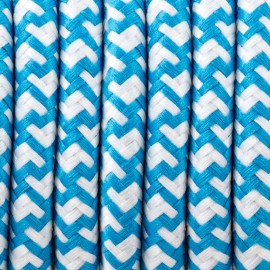 Round electric cable covered by polyester 33 White and blue 2x0.75