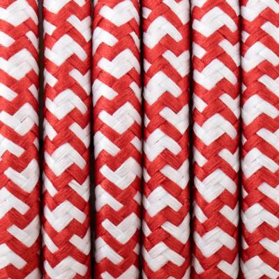 Kabel w oplocie poliestrowym 34 biało-czerwony 2x0.75
