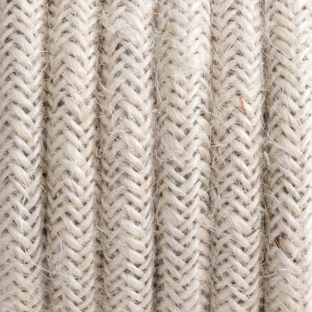 Jasnobeżowy kabel w oplocie jutowym bielonym J03 dwużyłowy 2x0.75 Kolorowe Kable