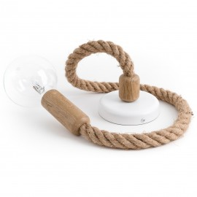 Loft Ari dębowa lampa wisząca z liną konopną