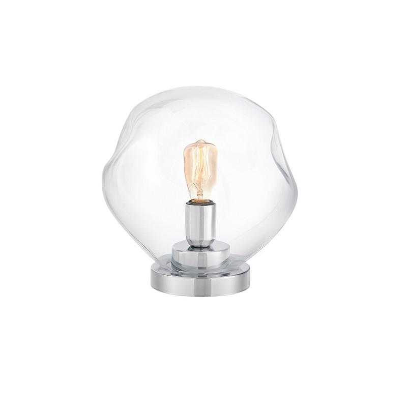 Szklana lampa stojąca AVIA transparentne nieregularne szkło i chromowane detale KASPA