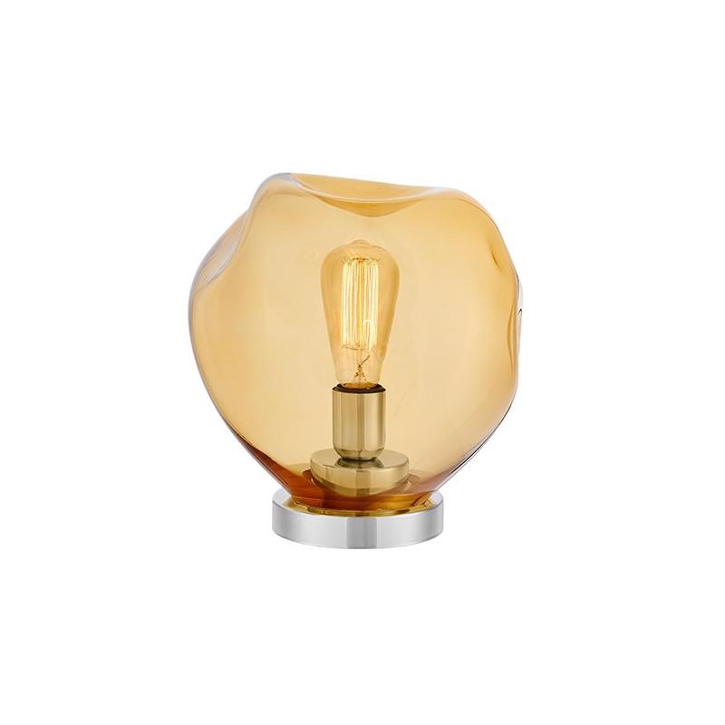 Szklana lampa stojąca AVIA bursztynowe nieregularne szkło i chromowane detale KASPA