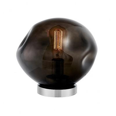 Szklana lampa stojąca AVIA dymne nieregularne szkło i chromowane detale KASPA