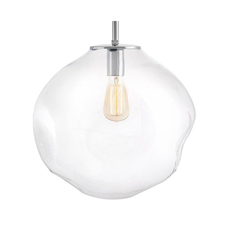 Szklana lampa wisząca AVIA L transparentne nieregularne szkło i chromowane detale KASPA