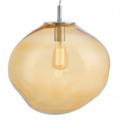 Szklana lampa wisząca AVIA L bursztynowe nieregularne szkło i chromowane detale KASPA