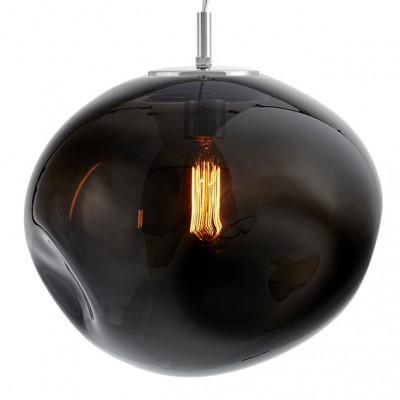 Szklana lampa wisząca AVIA L dymne nieregularne szkło i chromowane detale KASPA