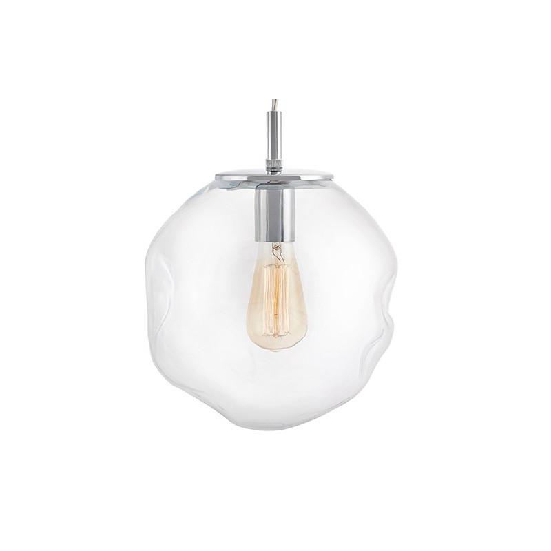 Szklana lampa wisząca AVIA M transparentne nieregularne szkło i chromowane detale KASPA