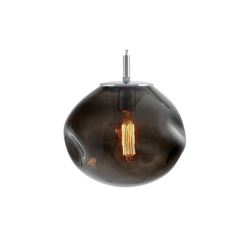 Szklana lampa wisząca AVIA M dymne nieregularne szkło i chromowane detale KASPA