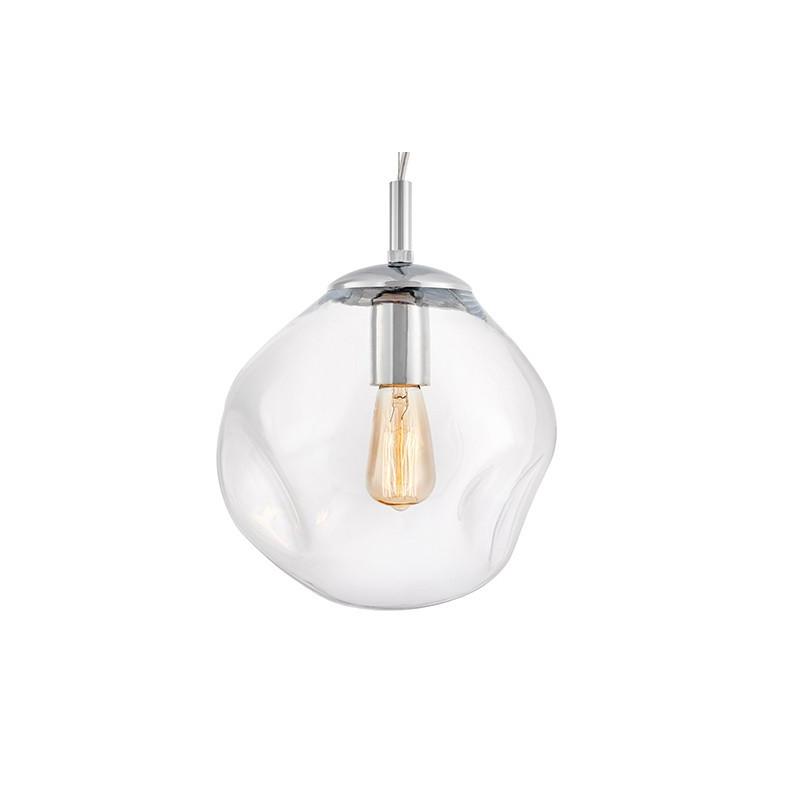 Szklana lampa wisząca AVIA S transparentne nieregularne szkło i chromowane detale KASPA