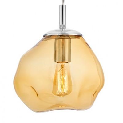 Szklana lampa wisząca AVIA S bursztynowe nieregularne szkło i chromowane detale KASPA
