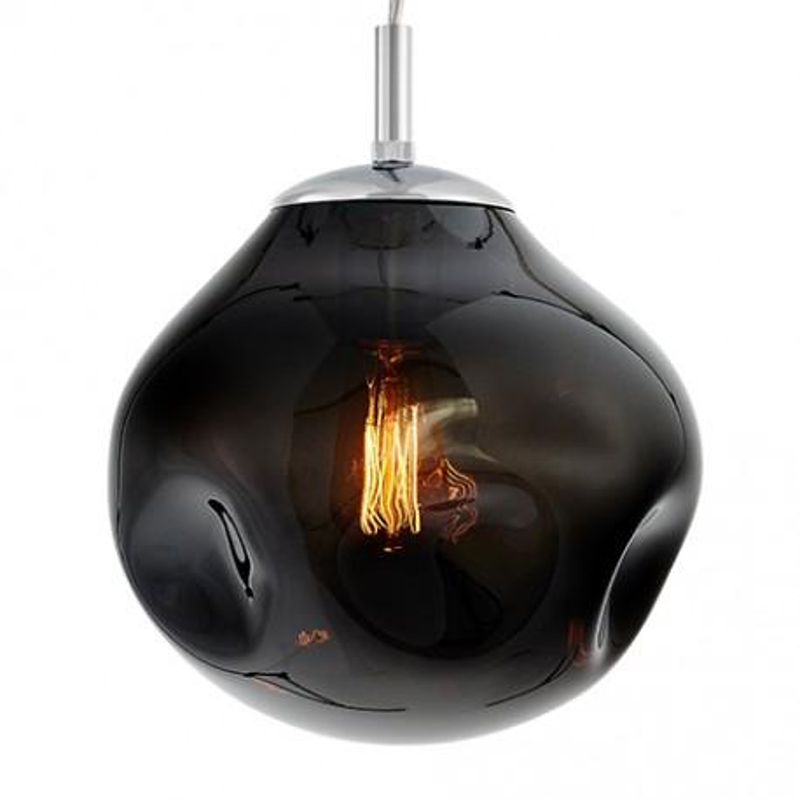 Szklana lampa wisząca AVIA S dymne nieregularne szkło i chromowane detale KASPA