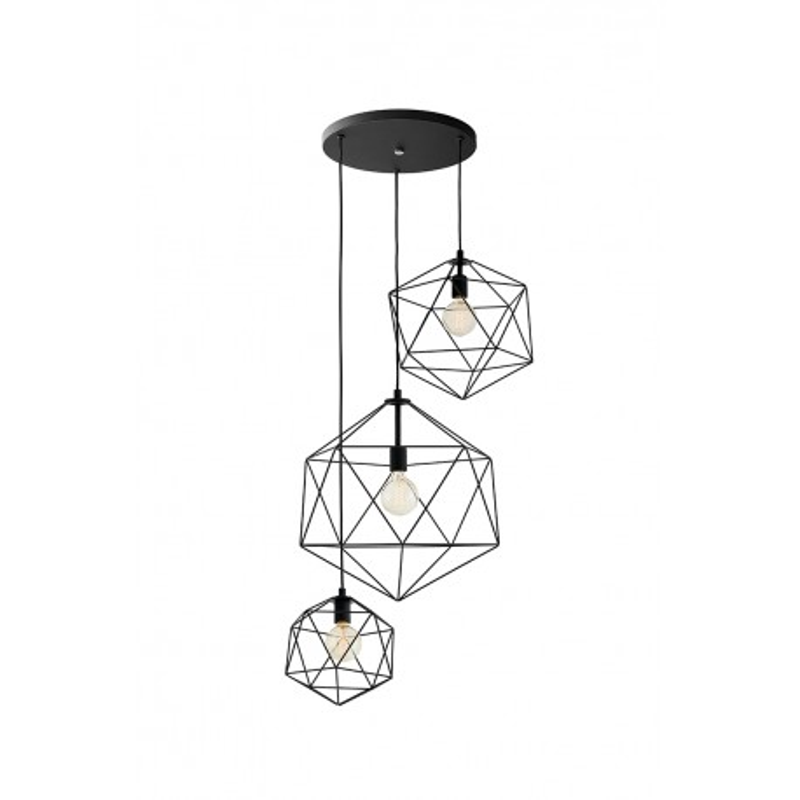 Wire Plafond 3 Pendant Lamp Black