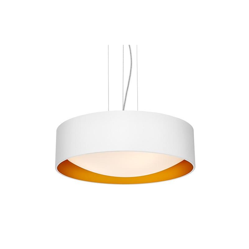 Sufitowa lampa wisząca VERO abażur biały na zewnątrz złoty wewnątrz i biały klosz KASPA