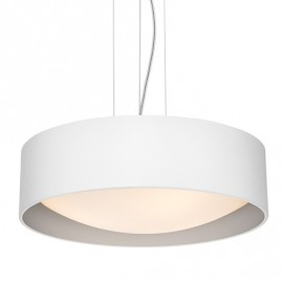 Sufitowa lampa wisząca VERO abażur biały na zewnątrz srebrny wewnątrz i biały klosz KASPA