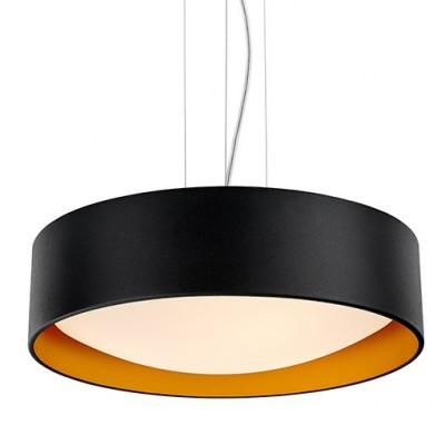 Sufitowa lampa wisząca VERO abażur czarny na zewnątrz złoty wewnątrz i biały klosz KASPA