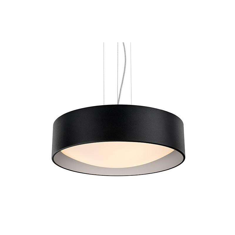 Sufitowa lampa wisząca VERO abażur czarny na zewnątrz srebrny wewnątrz i biały klosz KASPA