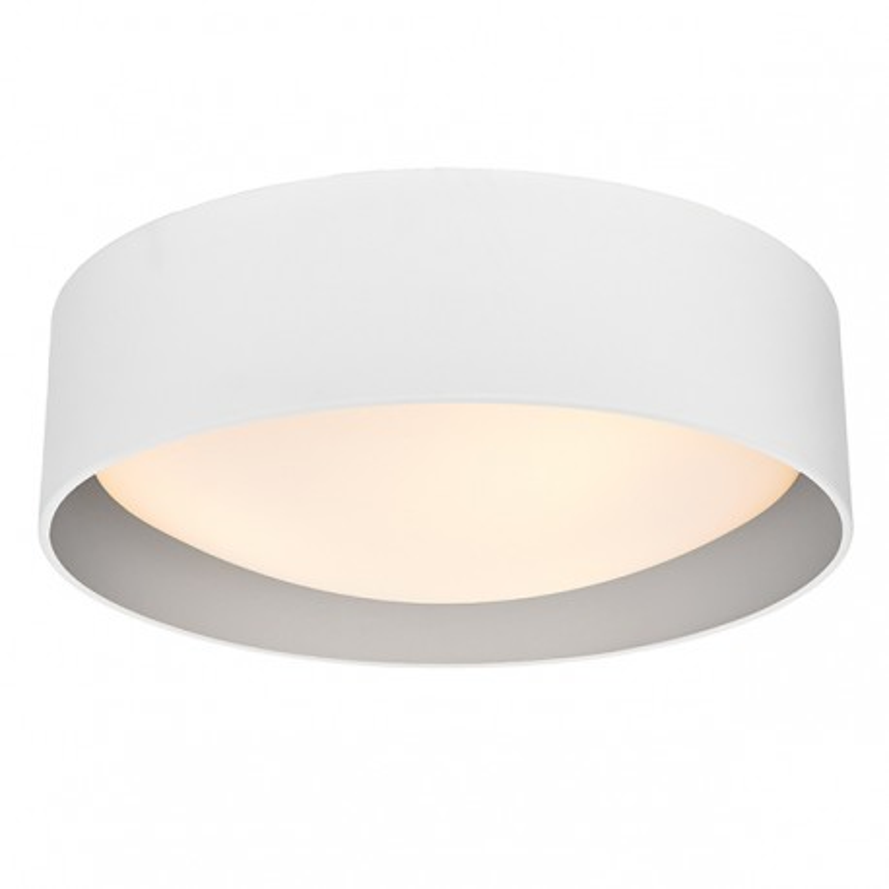 Lampa sufitowa plafon VERO L abażur biały na zewnątrz srebrny wewnątrz i biały klosz KASPA