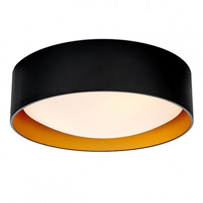 Lampa sufitowa plafon VERO L abażur czarny na zewnątrz złoty wewnątrz i biały klosz KASPA