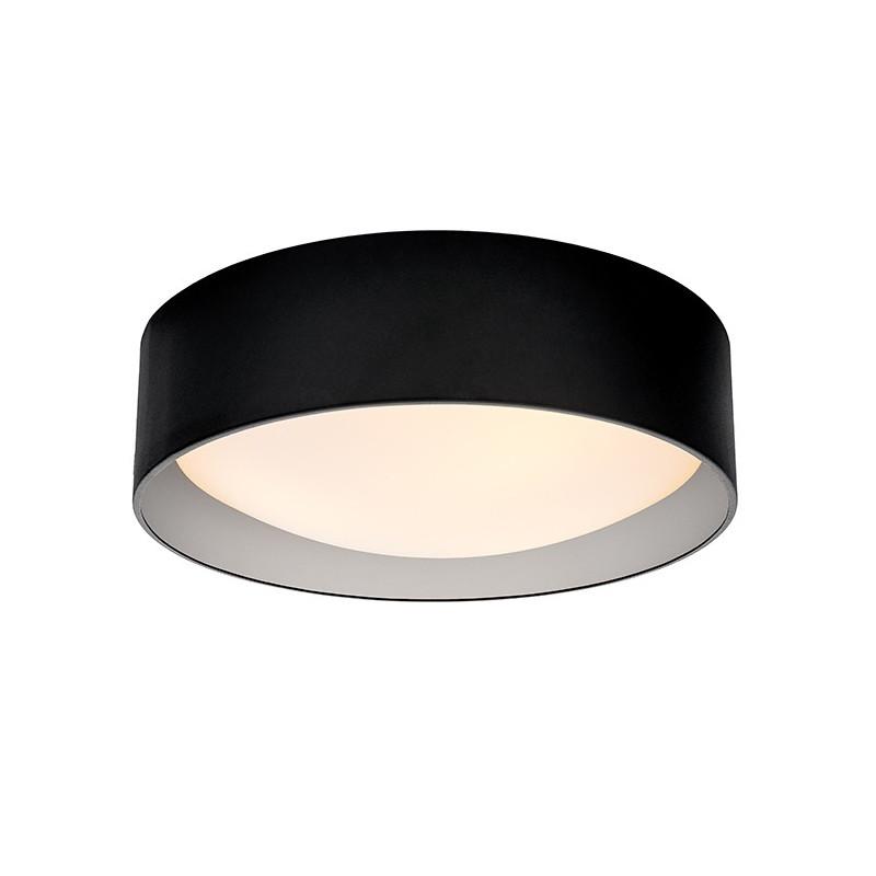 Lampa sufitowa plafon VERO L abażur czarny na zewnątrz srebrny wewnątrz i biały klosz KASPA