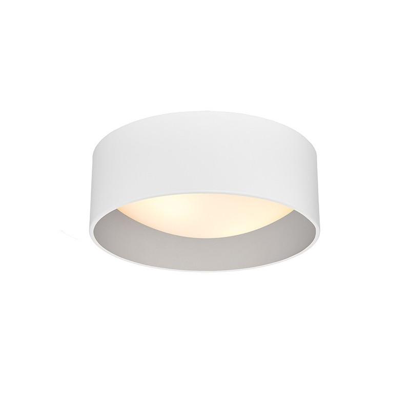 Lampa sufitowa plafon VERO S abażur biały na zewnątrz srebrny wewnątrz i biały klosz KASPA