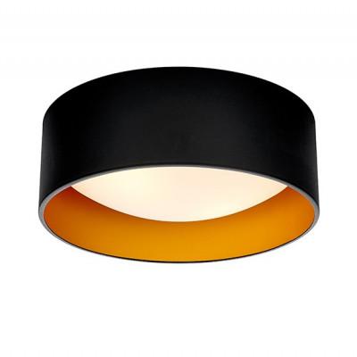 Lampa sufitowa plafon VERO S abażur czarny na zewnątrz złoty wewnątrz i biały klosz KASPA