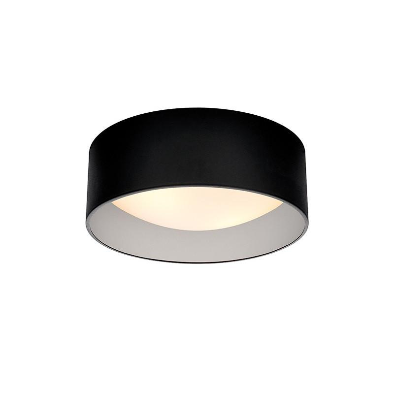 Lampa sufitowa plafon VERO S abażur czarny na zewnątrz srebrny wewnątrz i biały klosz KASPA