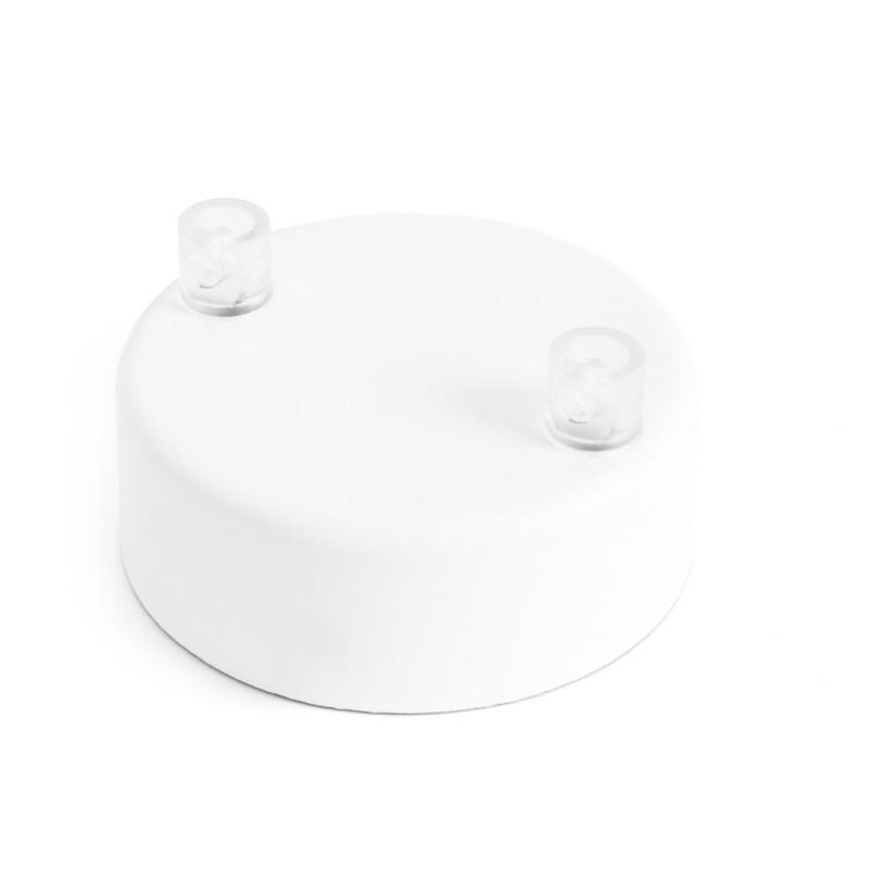 Metalowa osłonka sufitowa lakierowana w kolorze białym strukturalnym - dwukablowa