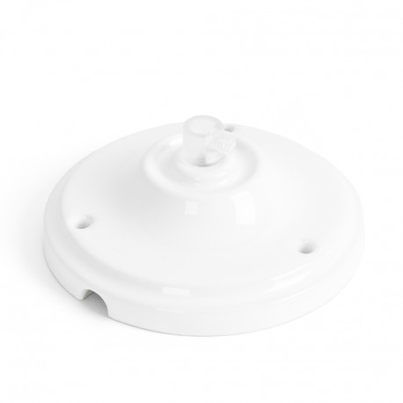 Ceramiczna osłonka sufitowa w kolorze białym - jednokablowa