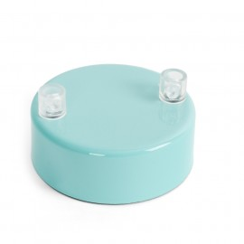 Metal ceiling cup lacquered in light blue - two cables