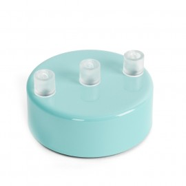 Metal ceiling cup lacquered in light blue - three cables