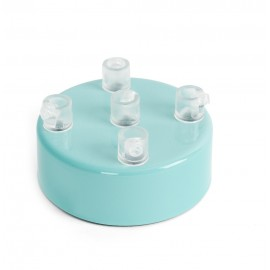 Metal ceiling cup lacquered in light blue - five cables