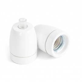 Ceramic lamp holder white E27