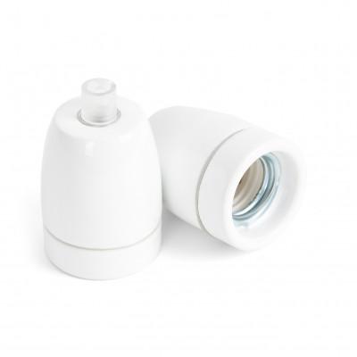 Ceramic lamp holder white E27