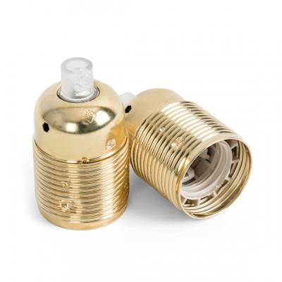 Metal lamp holder E27 in golden color