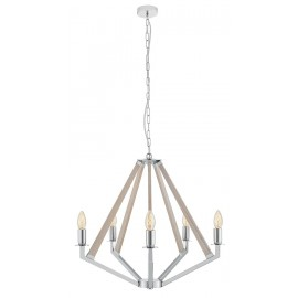 NEZ 5 Pendant Lamp Chandelier Chrome / Bleached Oak