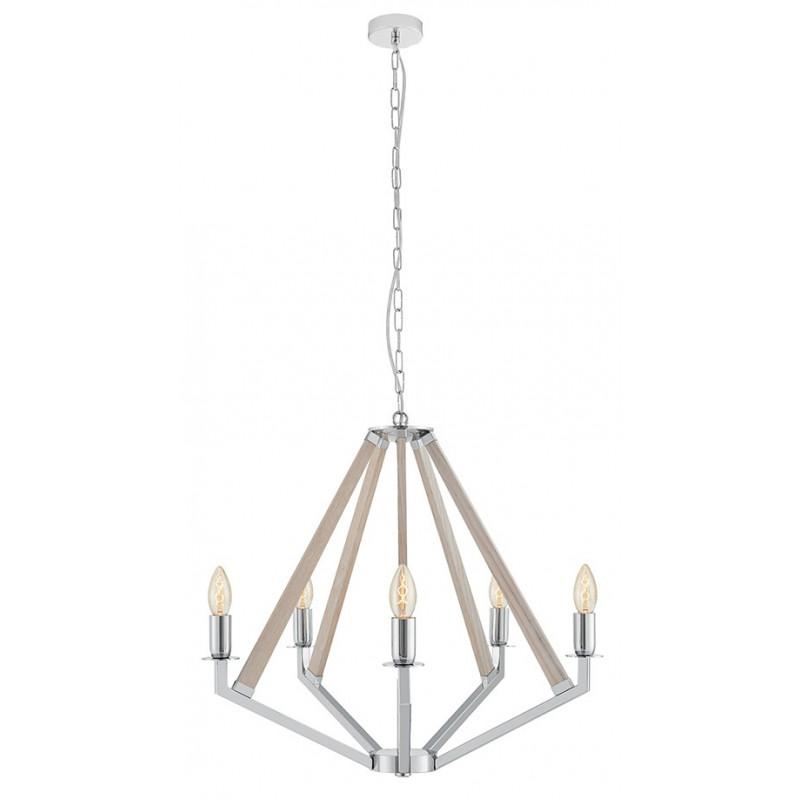 NEZ 5 Pendant Lamp Chandelier Chrome / Bleached Oak