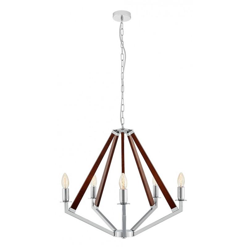 NEZ 5 lampa wisząca żyrandol chrom / orzech