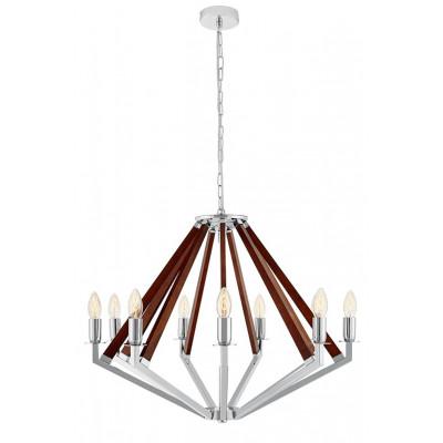 NEZ 9 lampa wisząca żyrandol chrom / orzech