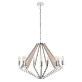 NEZ 9 Pendant Lamp Chandelier Chrome / Bleached Oak
