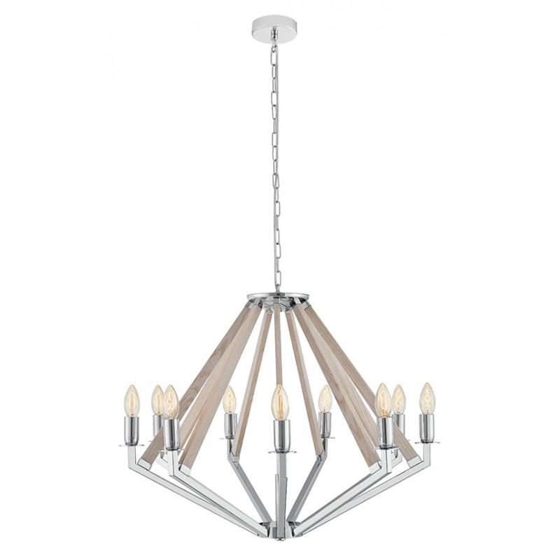 NEZ 9 lampa wisząca żyrandol chrom / dąb bielony