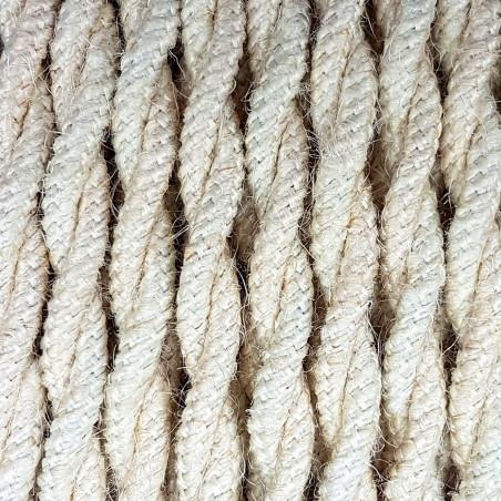 Jasnobeżowy kabel skręcany w oplocie jutowym bielonym J04 dwużyłowy 2x1x0.75 Kolorowe Kable