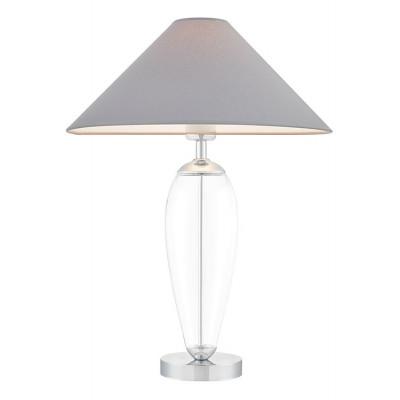Rea lampa stołowa przezroczysty / chrom / abażur szary