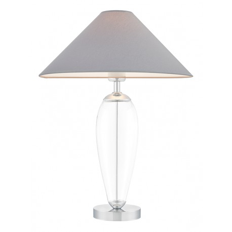 Rea Standing Lamp Transparent / Chrome / Grey Lampshade