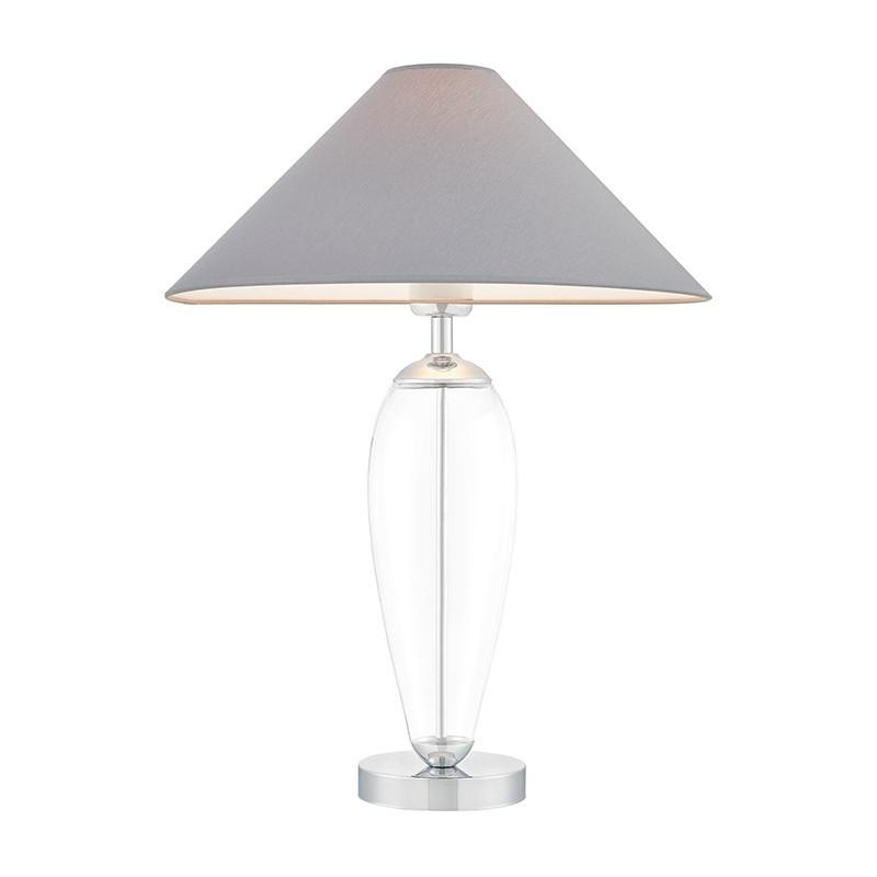 Szara lampa stojąca REA szary abażur, podstawa przezroczysta szkło i chrom KASPA