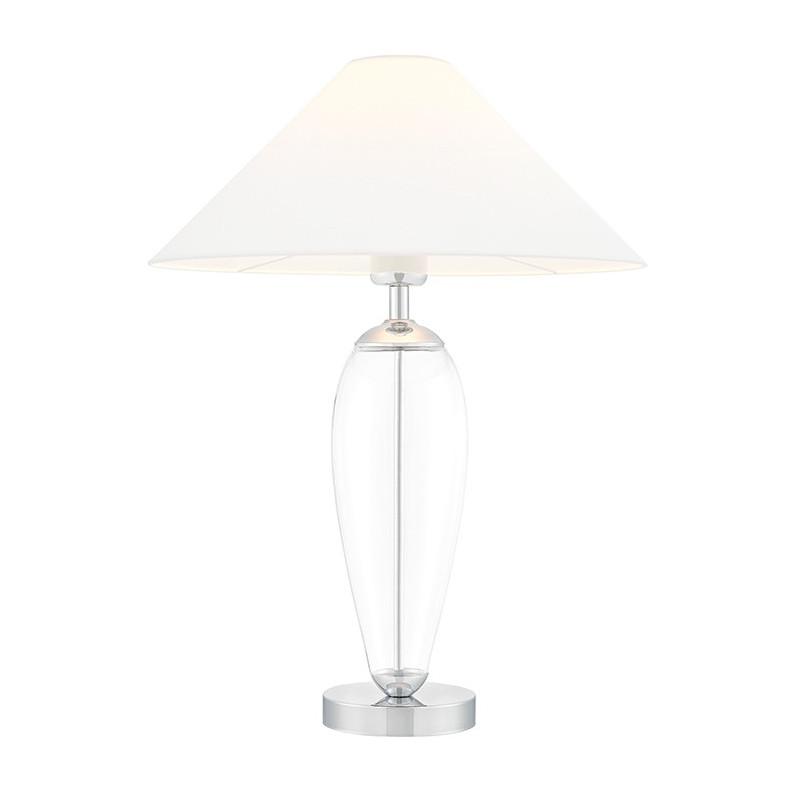 Biała lampa stojąca REA biały abażur, podstawa przezroczyste szkło i chrom KASPA
